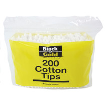 Black and Gold Cotton Tips (200 Pack)