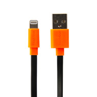 Buddee Lightning MFI USB Flat Cable - Black/Orange - BD401001-BO