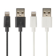 Buddee USB to Lightning MFI Round 1m Cable Twin Pack - Black/White