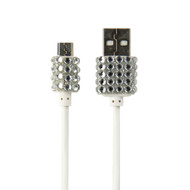 Buddee Micro-USB Cable White With Bling - BD403020-WH