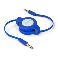 Buddee 3.5mm AUX Audio Retractable Flat Cable - Blue
