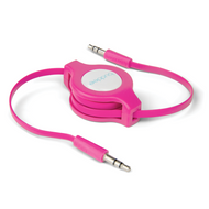Buddee 3.5mm AUX Audio - Pink Audio Retractable TPE Flat Cbl - BD405030-PK