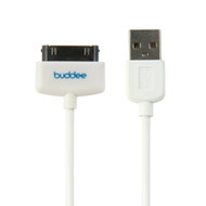 Buddee 30 Pin Sync / Charge Cable White - BD402040-WH