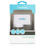 Buddee Dual USB Port Wall Charger - White