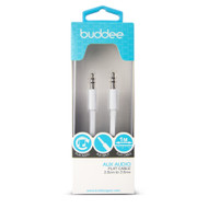 Buddee 3.5mm AUX Audio - White TPE Flat Cable 1m - White - BD405020-WH