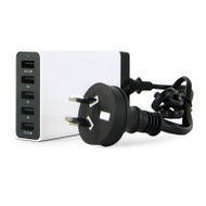 Gecko Charge Station 5 Port USB Desktop Charger - White - GG500049