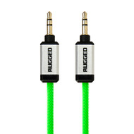 Gecko Rugged Aux Audio Round Cable 1m - Green