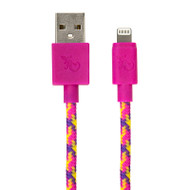 Gecko Lightning to USB Braided Cable 1.2m - Pink/Purple (Confetti)