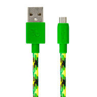 Gecko Micro-USB to USB Braided Cable 1.2m - Green/Yellow (Turtleback)