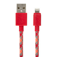 Gecko Lightning to USB Cable Braided 1.2m - Orange/Grey (Flame)