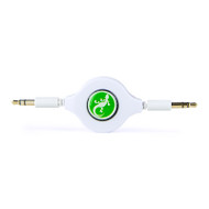 Gecko Retractable AUX Audio Round Cable 80cm- White