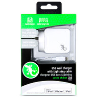 Gecko Single Port Wall Charger with Lightning Cable 2.4 Amp - White