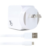 Gecko Wall Charger USB Port with Flat Micro-USB Cable 2.4 Amp - White
