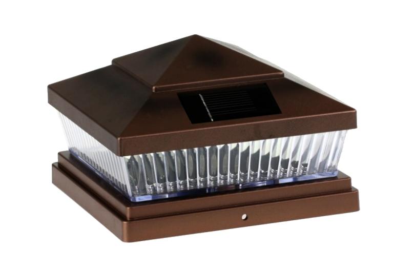 6-Pack Solar HAMMERED BROWN//BLACK//GREY//BRONZE Cap LED Lights For 5x5 Fence Post