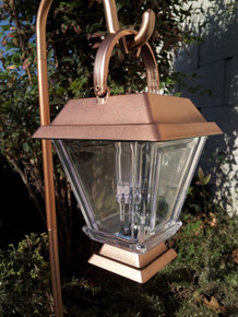 2-Pk Solar Bronze Plastic Lanterns with Hanging Cane