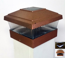 Copper 5 X 5 PVC Vinyl Fence Post Cap Solar Light LED