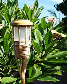 2-Pk Garden Bamboo Tiki Torch Solar Landscape Light 5 LEDs