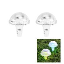2-Pk Outdoor Garden Solar Mushroom Landscape Light Color Changing