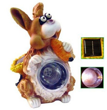 Outdoor Cute Large Solar Powered Bunny Spotlight Holding Carrot 4 LEDs