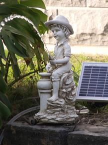 Boy Pond Spitter Statue With 5 Watt Solar Pump Combo