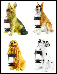 Outdoor Garden Decor Dog w/ Lantern Landscape Solar Light