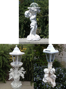 Outdoor Garden Decor Angel Cherub/Boy Sculpture Solar Light