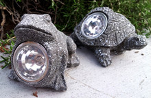 2-Pack Solar Garden Decor Miniature Animal Statue Light