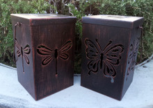 Outdoor Solar Garden Bronze Metal Dragonfly/Butterfly Lantern