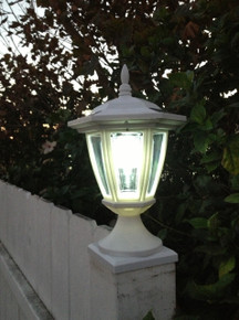 "2-Pk Premium Solar Hexagon Light w/ Wall Mount or Fence Post Cap Base (4"", 5"" & 6"") [New model]"