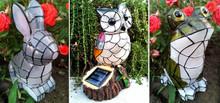 Solar Garden Decor Animal Mosaic Bunny/Frog/Owl Statue Figurine