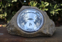 2 Pk Outdoor Decor Solar Stone Rock Spot Light 3 LEDs (R10)