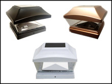 6 X 6 White/Copper/Black Fence Post Cap Solar Light LED 2 LEDs PVC Vinyl
