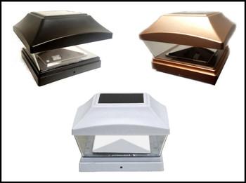 6 X 6 White//Copper//Black Fence Post Cap Solar Light 2 LEDs PVC Vinyl 8-Pk