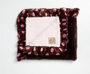 Brown Lux Satin Trim Blanket 30x36