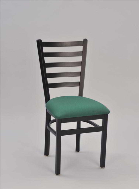 5 Ladder Metal Chair with teal vinyl upholstered seat and black frame finish | Seats and Stools