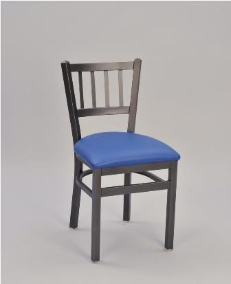 Jailhouse Metal Chair, pictured in sandtex black frame finish and seat upholstered in blue vinyl.