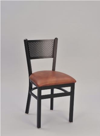Mesh Back Metal Chair by Seats and Stools, pictured with anodized nickel frame finish and upholstered seat in saddle vinyl.