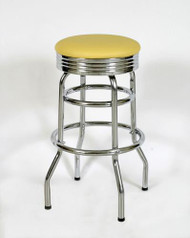 Seats and Stools' Retro Double Ring Bar Stool with Chrome Band Seat in yellow vinyl.