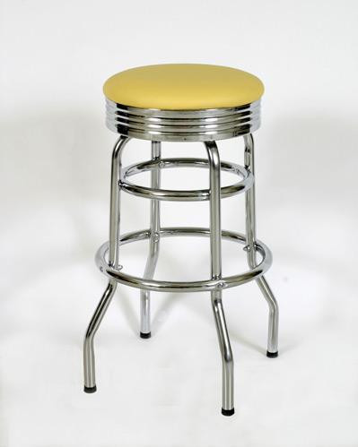 Terrific Retro Double Ring Bar Stool With Chrome Band Seat Machost Co Dining Chair Design Ideas Machostcouk