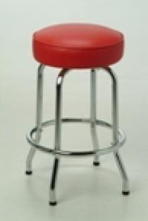 "Our Retro Single Ring Bar Stool 1 features a chrome finish, and a round seat with 360 degree swivel. Pictured in red vinyl.  Options:  - Fabric, vinyl color selection available for custom upholstery - Available seat sizes: 14"" or 16"""