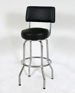 "This sturdy 30"" Single Ring Retro Style Diner Stool with Back 1 features a chrome finish, 360 degree swivel seat, and 14"" or 16"" seat size. Pictured in black vinyl."