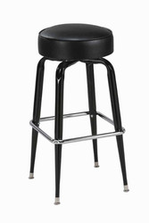 "Square Bar Stool Base with 14-16"" Round Seat features: - Seats are available in all of our olefin fabrics and vinyls. - Seat available in 14"", 15"" and 16"". - Base has a 360 degree swivel. - Black finish with chrome foot rest. - Made in the USA."