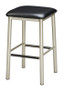 "Our Backless Metal Bar Stool 1 is a stool you can depend on, with a sturdy metal base and a 15"" square seat. Seat fabric and vinyl options are available, as well as base color options. Made in USA."