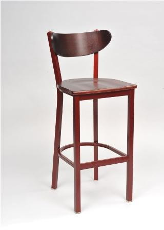 "Our Contoured Combo Bar Stool 1 sports a contoured back and is built to withstand commercial or home use. Choose from 5 metal frame finishes, 4 wood finishes, and a wide selection of fabric, vinyl and wood seat options. Available with matching chair, 24"" and 30"" swivel motion bar stool."