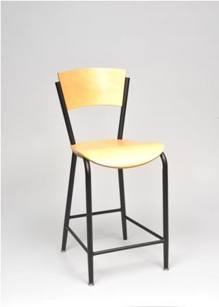 Seats and Stools' Brody Bar Stool with natural wood seat and back, and black frame. Perfect for commercial or home use.