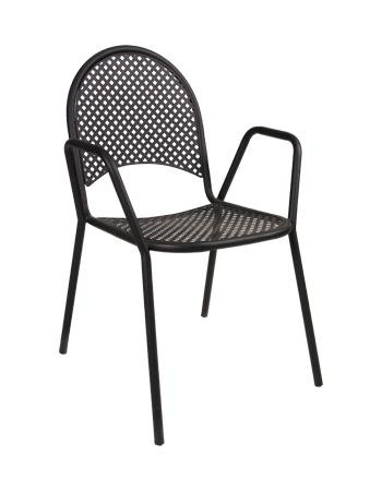 Our Milan Black Metal Outdoor Stack Chair adds a modern aesthetic to your indoor/outdoor home or restaurant seating area. Features include a mesh seat and back, stackable design, durable welded frame with black finish.