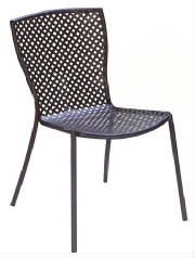 The Sonia Outdoor Metal Side Chair is sturdy, rust-proof and corrosion-resistant with a polyester powder-coat finish and zinc-galvanized steel frame. Chairs are available in Anthracite and Bronze. Additional information: mesh design is punched, rather than stretched, making the seat solid and smooth. Chairs stack 16 high.