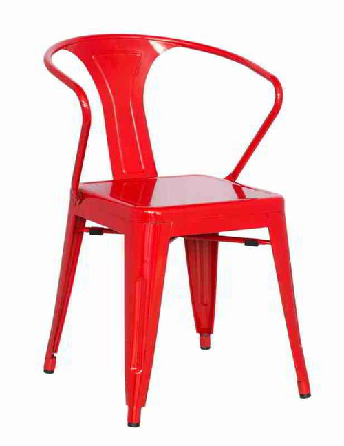 Galvanized Steel Side Chair with Rolled Arm in red.