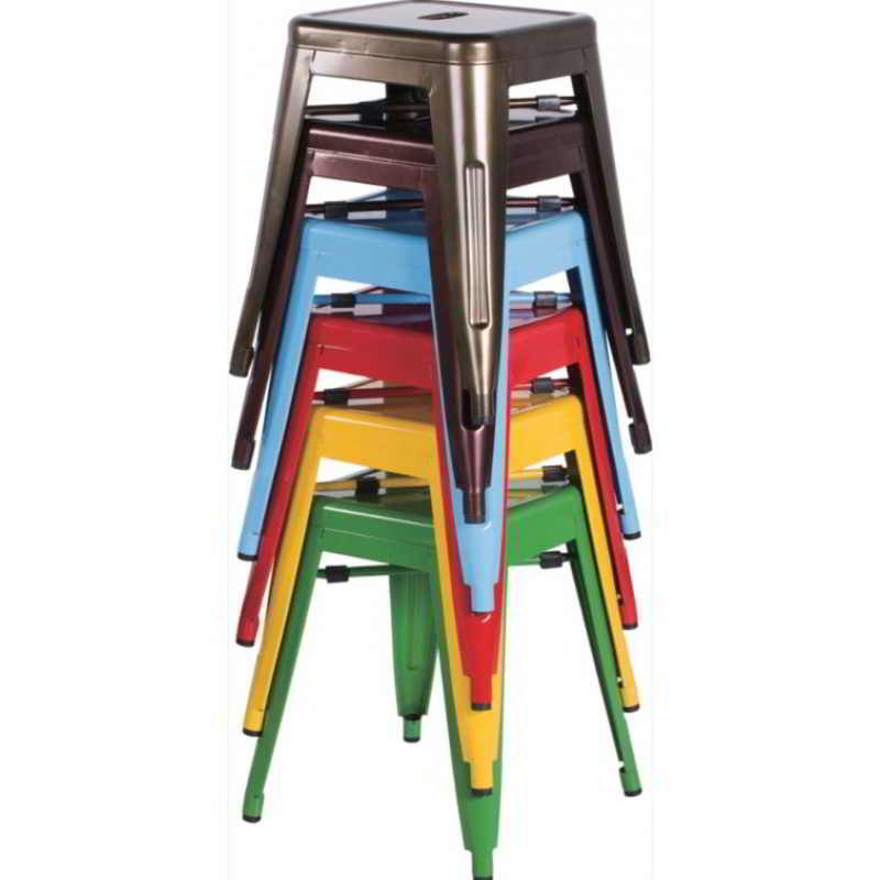 Set Of 4 Galvanized Steel Stools Outdoor Backless Stools