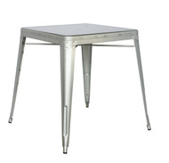 Galvanized Steel Outdoor Dining Table in silver finish.